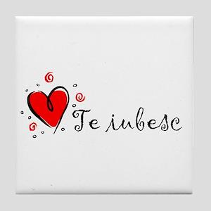 """""""I Love You"""" [Romanian] Tile Coaster"""